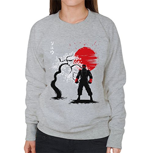 Street Fighter Ryu Japanese Style Womens Sweatshirt Heather Grey