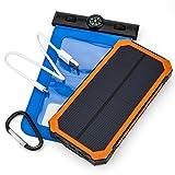 Opul Batterie Externe Portable avec Chargeurs Solaires – Durable et Portable pour Chargement dans le Sac à Dos – Avec Etui à Téléphone Etanche pour Chargement Sans Souci N'Importe Où