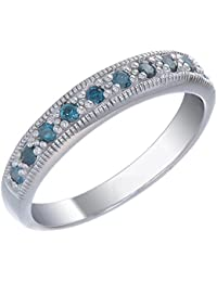 Sterling Silver Blue Diamond Wedding Band (0.60 CT)