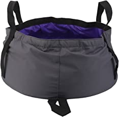 Generic 12L Outdoor Camping Folding Wash basin Bucket Travel Bag Purple