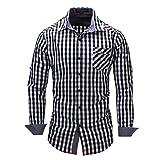 SEWORLD 2018 Herren Herbst Winter Hemd Gitter Denim Langarmhemd Super Modern Super Qualität Hemden Blusenoberteil Oktoberfest (Schwarz,EU-54/CN-3XL)