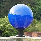 IP44 extérieur piédestal lumière colonne bleue lampes pelouse terrasse cour paysage colonne E27 étanche (acrylique + PC)-boule ronde lampadaire jardin extérieur piliers lumière Wegeleuchte φ30CM