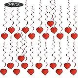 SERWOO (L :80cm) 24pcs Suspensions Décoration de Tourbillon Coeur Rouge avec Crochet et Lettre Guirlande Decoration Fête Mariage