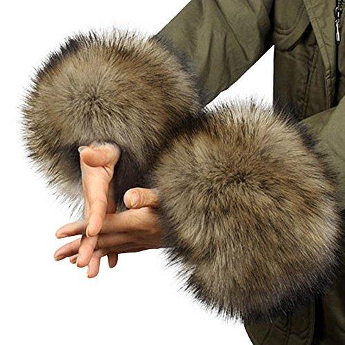 Tonsee 2018 Frühling Herbst Winter warme Fell Manschette Handschuhe Imitation Kaninchen Pelz Ärmel weiblichen Handgelenk Armband Fell Winter Sätze (Brown)