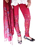 MK Fashion Bandhani Printed Magenta Leggings with Dupatta for women (XL)