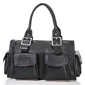 italienische Damen Henkeltasche Stockholm aus echtem Leder in schwarz, Made in Italy, Handtasche 37x23 cm