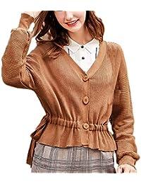 Femme Pulli Fashion Elégante Jumper Pullover Couleur Unie Manches Longues  V-Cou Simple Boutonnage Chic 5577c30164a0