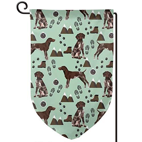 Lilyo-ltd Deutsche Kurzhaar-Pointer Hund Rasse Haustier Porträt Berge Wandern Garten Hofflagge 31,75 x 45,7 cm doppelseitig Polyester Willkommenhaus-Flagge -