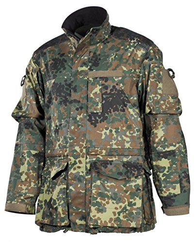 MFH BW Kampfjacke Einsatz/Übung, lange Version Bundeswehr Einsatzjacke Army Outdoor Jacke tArbeitsjacke Flecktarn S-3XL (M)