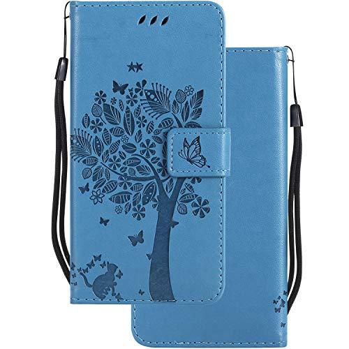 LEMORRY für Microsoft Lumia 640 LTE Hülle Tasche Geprägter Ledertasche Beutel Schutz Magnetisch Schließung SchutzHülle Weich Silikon Cover Schale für Lumia 640 LTE, Glücklicher Baum Blau