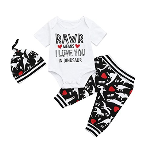 SHOBDW Boys Clothing Sets, 3PCS Newborn Baby Boy Cute Set Romper Tops+Long Pants Hat Outfits Clothes (0-3 Months, Short-I Love You)