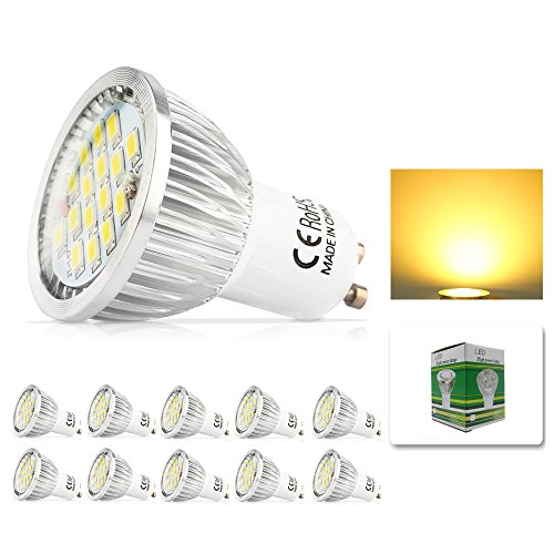 Mengjay® 10 Stück - 6 Watt GU10 LED Lampe 48 SMD 2835 LED Spots Strahler AC 220V Echter 60 Watt Lampe Leuchtmittel 520 lumen Abstrahlwinkel 120° Warmweiß
