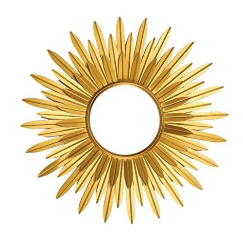 Spiegel Dekorativer Schmiedeeisen Sunburst Wandbehang, Vintage Gold Messing Blume Metallrahmen (Vintage Sunburst Spiegel)