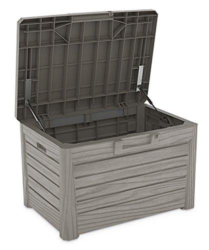 Toomax Kissenbox #Z158 grau 120 Liter Inhalt Holz Optik - mit Sitzfläche 200 kg Tragkraft - absolut wasserdicht - abschließbar