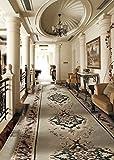 A.Monamour Castillo Interior De Lujo Pasillo Interior Decoración Beige Largo Alfombra Trayectoria...