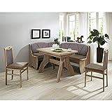 Pharao24 Esszimmer Sitzecke in Braun Grau Eckbank und ausziehbarem Tisch