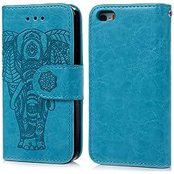 Coque iPhone 6 6S Etui Flip Cover Clapet 2 en 1 Coque Protecteur en Cuir PU avec TPU Silicone Housse avec Portable Dragonne Stand Support et Carte de Crédit Slot -- Bleu