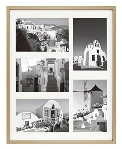 �x 14Rahmen mit Matte-Zeigt Fünf 4x 6Fotos-Echt Glas, Sägezahn, Register-Wandmontage, Landschaft, Porträt Aluminum - Gold with Ivory Mat ()
