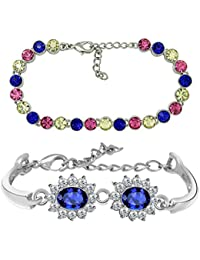 Mahi Rhodium Plated Combo Of Multicolour Tennis Bracelet And Floral Link Bracelet With Crystal Stones CO1104650R