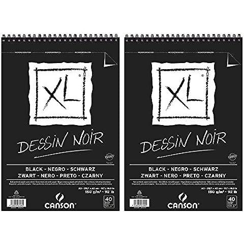 Canson negro XL-Juego de 2 cuadernos de dibujo Spiralés lado, 40 hojas, tamaño A3, profundo, 150 g