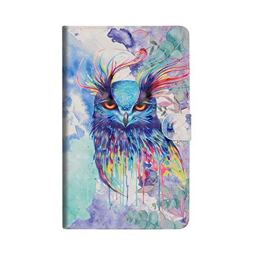 Candy House Hülle Für Huawei MediaPad T3 8.0 Zoll 3D Design Tablet PU Leder Brieftasche Flip Schutzhülle Cover Mit [Kartenhalter] (Painted Owl) (Männer Hat Owl)