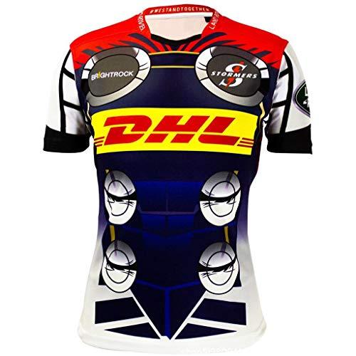 Lässige Rugby-shirts (Okeak Rugby-Männer-Trikot Stormers Hero Edition T-Shirts Rugby-Anhänger Kurzärmlige Fußballfan-Kleidung Outdoorsport-Polo-Shirt Lässiges T-Shirt,A,M)