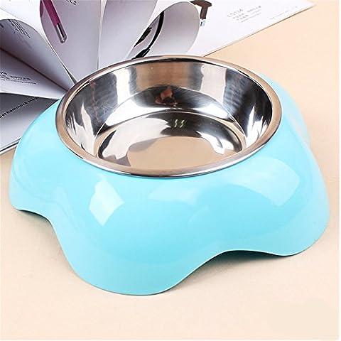 Carino Fiori con Acciaio e Alta Qualità Plastica Ciotola per Cani e Gatti 3 colori e 2 misure (L, Blu)