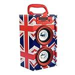 Altavoz Bluetooth Inalambrico Portatil con asa y altavoz de 10W con funcion de Radio FM, Lector tarjetas SD, entrada USB, control de volumen, Line-in, con luces LED - Modelo Jovi- Diseño bandera UK