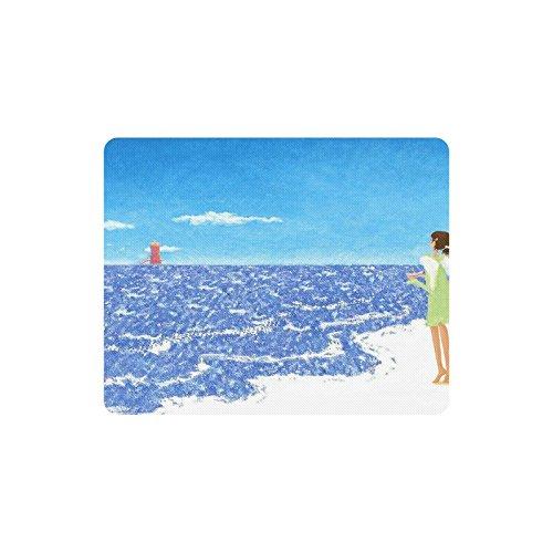 sofengl-angel-sobre-una-playa-mar-faro-ordenador-rectangulo-alfombrilla-de-raton