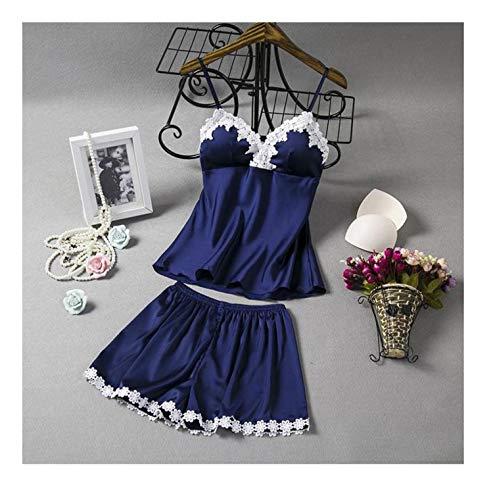 Satin Two Piece Pajamas Set Women's Lingerie Pyjamas Sleepwear Lace Silk Pijamas Summer Clothes Nightie Home Suit Pads on Chest Navy Blue XXL