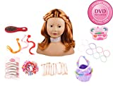 Götz 1192054 Haarwerk mit roten Haaren und braunen Augen - 58-teiliges Frisierkopf- und Schminkkopf-Set - geeignet ab 3 Jahren
