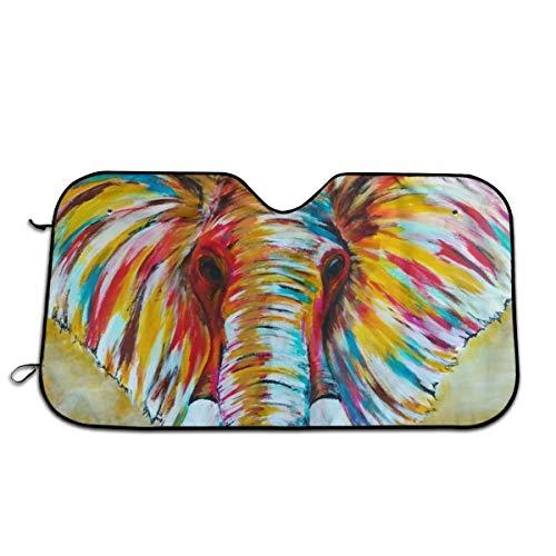 FATHYU Parasol para Parabrisas con diseño de Elefante Colorido, bloquea los Rayos UV y Protege tu Coche de Altas temperaturas