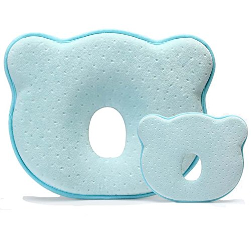 Cuscino per bambini, cuscino romanstii per neonanti in memory foam, cuscino ergonomico per evitare la testa piatta cuscino di supporto per la testa per neonati (10x24 ''x 8.76 ''x 1.38 '', blu)
