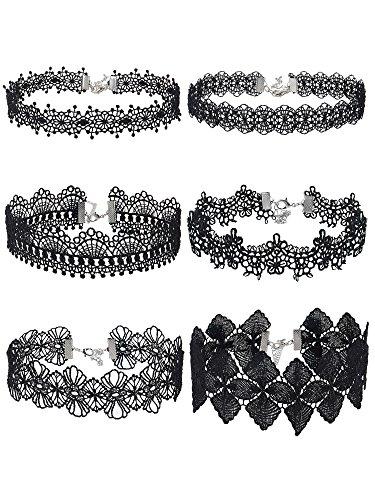 Chocker Negro Gargantilla de Encaje Collar Gótico para Mujeres Chicas, Negro, 6 Piezas