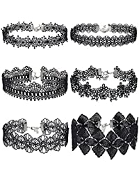 Choker Necklace Black Choker Lace Choker Gothic Necklace for Women Girls, Black, 6 Pieces