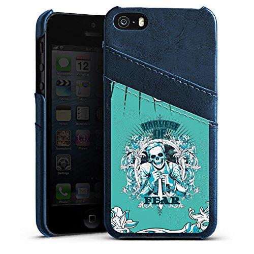 Apple iPhone 4 Housse Étui Silicone Coque Protection Mort Faucheur Fear peur Étui en cuir bleu marine