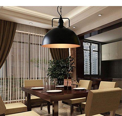 Luce pendente, lampadario industriale , Casa moderna Plafoniera, luce pendente illuminazione lampadari [classe energetica A+] diametro dei 300 (mm) , nero