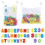 Joyoldelf 2 Bad Spielzeug Organizer, Bad Aufbewahrungstasche Netz Badewanne Spielzeugnetz mit 36 Badespielzeug Buchstaben Zahlen für Kleinkinder,6 Ultra Starke Saughaken
