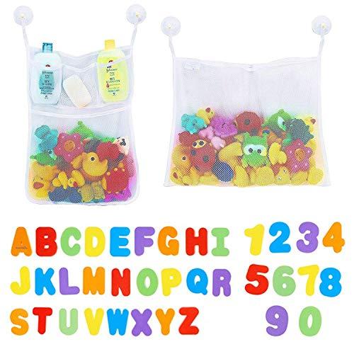 lzeug Organizer, Bad Aufbewahrungstasche Netz Badewanne Spielzeugnetz mit 36 Badespielzeug Buchstaben Zahlen für Kleinkinder,6 Ultra Starke Saughaken ()