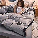 Huichao Baumwoll-Quilt Decken Vier Sätze von Herbst-und Winterwarm Kristall Samt Betten einfache solide Farbkontrastfarbe Mosaik nordischen Stil,Gray
