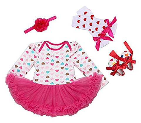 Scothen Toddler Infant Girl Dress Birthday Set 4pcs Chaussures + Chaussettes tutu robe + + Bandeau Ruffle Jumpsuit Outfit Baptême Party Costume Tutu Jupe robes de