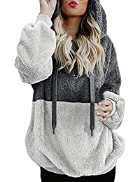 Kobay Womens Christmas Tops, Ladies' Hooded Sweatshirt Coat Winter Warm Wool Zipper Pockets Cotton Coat Outwear Blouse Fashion Loose Clothes Yours Clothing Gifts for Women T-Shirt Pullover
