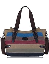 Coofit Damen Handtasche Bunt Multi-Color-Striped Handtasche Shopper Canvas Umhängetasche Damen Schultertasche
