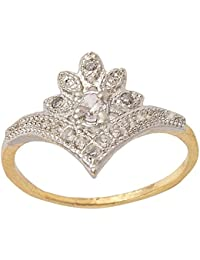 SKN Silver And Golden American Diamond Solitaire Party Alloy Ring For Women & Girls (SKN-3407)