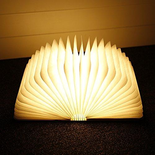 Folding buch Lampe, iLifeSmart USB Aufladbare Hölzerne Faltende Buch Form Nachtlicht Stimmungs Beleuchtung Colleer LED Lampe Ideal für Buchlampe, Tischlampe, Innenbeleuchtung, Tabelle und Nachttischlampe (1) (Hölzerne Lampe)
