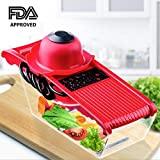 Mandoline Slicer - 5 in 1 Multi-function Food Slicer Fruit and Cheese Cutter with 5 Interchangeable Blades and Safety Food Holder (Red)