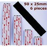 6piezas x Negro 3m dual Lock --–Pastillas de cinta 50mm x 25mm de largo–-- Mega fuerte adhesiva vhb cierre–-- Heavy Duty y a la intemperie–-- Tipo sj3550