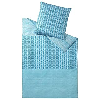 elegante Mako-Satin Bettwäsche Pazifik Aqua 1 Bettbezug 135x200 cm + 1 Kissenbezug 80x80 cm