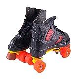 MLSS LI Zweireihige Schlittschuhe Vier-Rad-Rollschuhe Adult Skate Schuhe Skating Rink Zubehör Outdoor-Aktivitäten,Black-44
