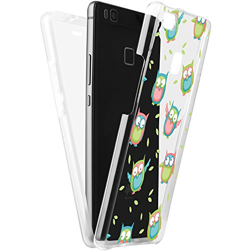 Double Tasche (EGO® Double Touch Case für Huawei P9 Lite MPA137 Eule 360 ° Grad komplette TPU Silikon Hülle vorne hinten Beidseitiger Schutz Full Handy Tasche transparent Front Back doppelseitig)